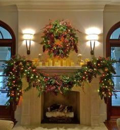 Holiday Decor: Holiday Mantle Garland - traditional - holiday decorations - dallas - Hob Nob Decor