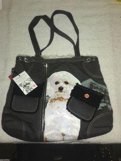 NWT Fuzzy Nation Bichon Black Brown Sweater Fur Tote Purse Retail $58 #FuzzyNation #TotesShoppers