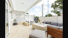 Close call on The Block NZ last night! Congrats Cat & Jeremy on the win. They used Dulux Cadrona Half, a perfect neutral white, to create a calm and serene outdoor space. Outdoor Furniture Sets, House, Home, Outdoor Space, Outdoor Rooms, Fireplace Design, The Block Nz, Inside Home, Outdoor Blinds