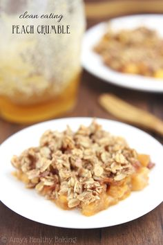 The easiest Peach Crumble recipe you'll ever make -- plus it's healthy enough for breakfast!