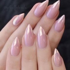 Almond shaped nails with shimmery pink gel polish! Only 13 1/2 more sleeps before @getbuffednails is back at Ugly Duckling ✨Ugly Duckling Nails page is dedicated to promoting quality, inspirational nails created by International Nail Artists #naila