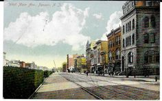 NEW JERSEY POSTCARD: 1912 STREET & RAILROAD VIEW OF WEST MAIN AVE. PASSAIC, NJ