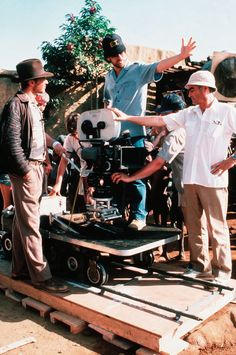 Harrison Ford, Steven Spielberg and Paul Freeman on the set of Raiders of the Lost Ark