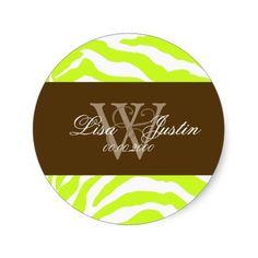 Lime zebra/monogram stickers