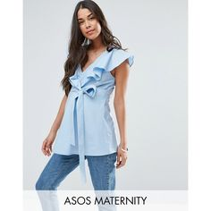 ASOS Maternity Cotton Blouse with Ruffle Front & Tie Waist ($41) ❤ liked on Polyvore featuring maternity and blue