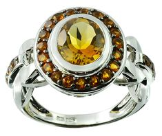 3.23 Carats Citrine with Madeira Citrine Rhodium-plated 925 Sterling Silver Ring * More details can be found by clicking on the image. #JewelryDesign