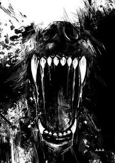 Best Illustration Wolf Teeth Vilebedeva images on Designspiration Fenrir Tattoo, Werewolf Tattoo, Werewolf Art, Fantasy Wolf, Dark Fantasy Art, Dark Art, Wolf Tattoos, Wolf Tattoo Back, Animal Drawings