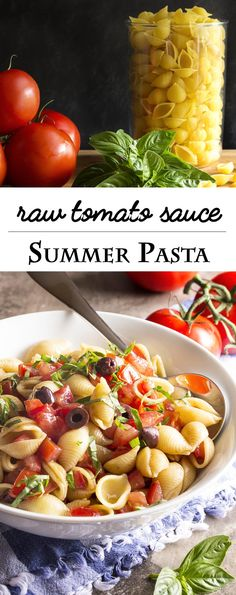 Pasta with Raw Tomato Sauce - In this recipe ripe, flavorful tomatoes are tossed with freshly cooked pasta along with fruity olive oil and thinly sliced basil. You can have dinner done in just a few more minutes than the time it takes to boil the water. | justalittlebitofbacon.com