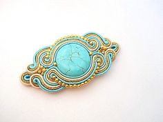 Items similar to Brooch in soutache technique with turquoise and gold plated beads. Turquoise and gold. on Etsy Handmade Felt, Handmade Jewelry, Unique Jewelry, Soutache Jewelry, Turquoise Stone, Shibori, Fiber Art, Brooch Pin, Turquoise Bracelet