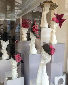 - is now on display in our hat shop. Fascinators, Headpieces, Fashion Shop Interior, Race Wear, Fashion Displays, Races Fashion, Mannequin Heads, Hat Shop, Window Displays