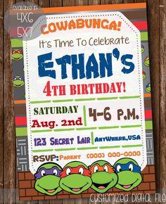 Ninja Turtles Birthday Invitations by PinkPetalsPapery on Etsy