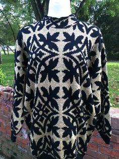 Vintage Black and Gold Metallic Jacquard Knit Oversized Sweater