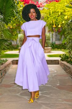 Style Pantry | Crop Top + Belted High Waist Skirt
