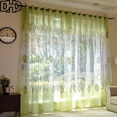 DHD Green Leaves Polyester Curtains Transparent Tulle Curtains For Living Room Roman Sheer Window Curtains for Bedroom Curtain #Affiliate