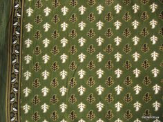 Indian Cotton Block Print Sari Border Fabric in Green Color By Yard
