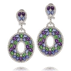"Sutra Jewels """"Sapphire Fan"""" Drop Earrings"