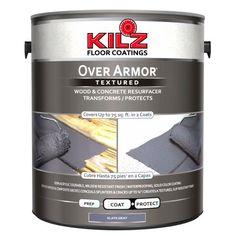Kilz Over Armor Wood/Concrete Coating, 1 gallon, Gray Concrete Deck, Concrete Driveways, Concrete Floors, Painting Concrete Patios, Concrete Paint Colors, Painted Concrete Steps, Stained Concrete Driveway, Cement Steps, Stain Colors
