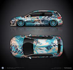 Wrap design concept #11 Miami for VW Golf GTI