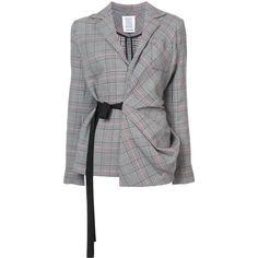 Rosie Assoulin plaid blazer with side tie fastening (193.895 RUB) ❤ liked on Polyvore featuring outerwear, jackets, blazers, black, wool jacket, wool blazer, rosie assoulin, plaid wool blazer and tartan jacket
