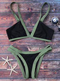Cut Out Color Block Bikini Bathing Suit - BLACK M