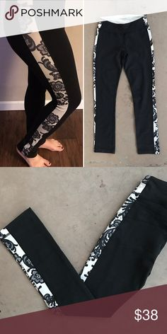 Lululemon Black Nude Lace Yoga Pants Leggings Rare black workout leggings by Lululemon features nude and black lace sides. Sooo pretty and unique! Size 4 (fits like small). Worn a couple times but in great condition with no flaws! lululemon athletica Pants Leggings