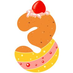 Sweet Number Three PNG Clipart Image