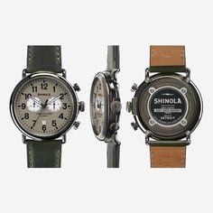 Shinola Warm Gray Runwell 2 Eye Chrono 47mm Watch - Green Leather Strap