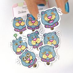 Cat Paper Stickers – Cat Emoticons – Cat Lovers Stickers – Cat Print – Cat Gifts – Cat Art – Cat Expressions – Cat Gift – Planner Cats Cat Stickers, Funny Stickers, Crazy Cat Lady, Crazy Cats, Cat Expressions, Love Drawings, Cat Gifts, Grumpy Cat, Emoticon