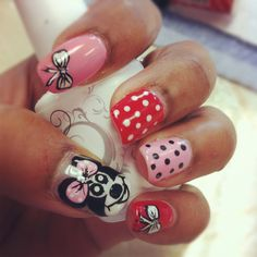 Minnie Mouse nails Pedicure Nail Art, Manicure, Minnie Mouse Nails, Disney, Beauty, Beautiful, Nail Bar, Nails, Polish
