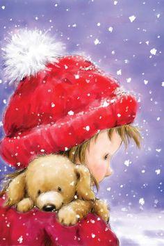 Artwork by Makiko Christmas Scenes, Christmas Art, Vintage Christmas, Christmas Classics, Xmas, Canvas Artwork, Canvas Art Prints, Puppy Mix, Christmas Graphics