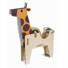 Giraffe Sticky Tape Dispenser -  Play Deco - Kit for constructing wooden figurine by ZigZakka on Etsy