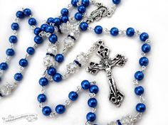 Queen of Heaven 5 decade Rosary necklace Blue by OohlalaBeadtique, $32.00