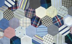 Picky Chicky's Art & Craft Blog: Work in Progress: Hexie Quilt From Recycled Men's Dress Shirts.   English paper piecing hexagons