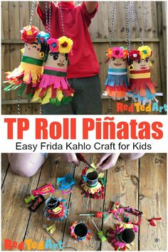 Toilet Paper Roll Pinatas for Cinco de Mayo - - Making toilet paper roll pinatas is super easy. Make a mini pinatas garland or make one for each guest to take home as a party favour. Recycled Art Projects, Recycled Crafts, Projects For Kids, Toilet Paper Roll Crafts, Paper Crafts, Fun Crafts, Crafts For Kids, Family Crafts, Summer Crafts