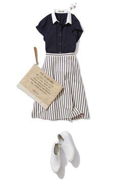ネイビーの鹿の子シャツでレディなモノトーンカジュアルスタイル Tokyo Fashion, Office Fashion, Work Fashion, Skirt Fashion, Daily Fashion, Spring Fashion, Fashion Looks, Chic Outfits, Summer Outfits