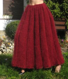 Thick fuzzy hand knitted pleated mohair skirt in red by supertanya, $215.00