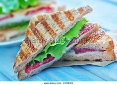 sandwiches with cheese and ham on a table - Stock Image Sandwich Toaster, Toast Sandwich, Ham, A Table, Sandwiches, Cheese, Stock Photos, Image, Food