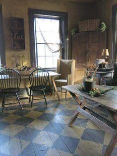 Prim kitchen.. Love the painted floor!