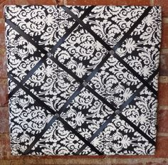 Black and white damask memory board from Welk Home Designs.  Great for the office, bedroom, kitchen, home office, dorm room, and just about anywhere. Beautiful and functional home decor!