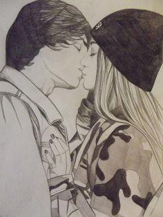 drawn couple kissing - Google Search