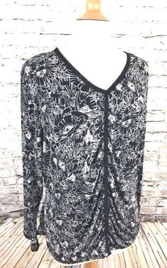 NWT Lane Bryant Top Black Floral Print V-Neck Plus Size 18 / 20 Poly Stretch New #LaneBryant #KnitTop #Casual