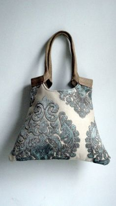 Mint damask tapestry tote bag with jute от madebynanna на Etsy