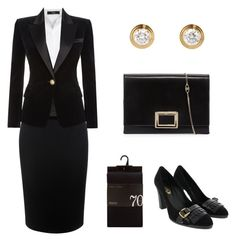 """""""Funeral Outfit 2"""" by arleth-dantas on Polyvore featuring Steffen Schraut, Alexander McQueen, Balmain and Roger Vivier"""