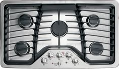 GE PGP976DET 36 Inch Gas Cooktop with 5 Sealed Burners, 17,000 BTU PowerBoil, Precise Simmer Burner, Heavy Cast Grates, Child Lock, LED Backlit Knobs, GE Fits! Guarantee and ADA Compliant