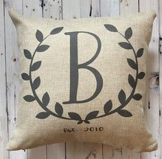 Monogram Farmhouse Pillow  Burlap Pillow  Rustic Country