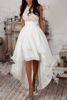 White high low lace halter top dress