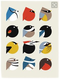 bird icon set by student cara thomson minimalist art digital graphic illustration Vogel Illustration, Pattern Illustration, Graphic Illustration, Doodle Drawing, Graphic Art, Graphic Design, Bird Graphic, Animal Graphic, Icon Set