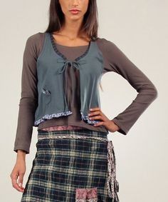 Another great find on #zulily! Green Margueritte Vest & Long-Sleeve Top #zulilyfinds