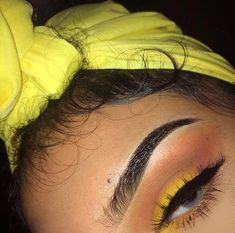 Yellow makeup look💛💛 Makeup On Fleek, Flawless Makeup, Cute Makeup, Gorgeous Makeup, Pretty Makeup, Prom Makeup, Wedding Makeup, Amazing Makeup, Simple Makeup