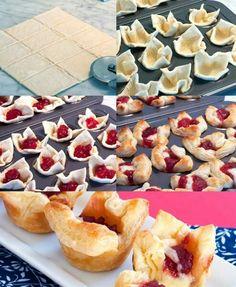 """Ecco la deliziosa idea che ci suggerisce la nostra Michela! Bocconcini di sfoglia con marmellata ai lamponi e brie *_* ecco come procedere: 1) preparare la sfoglia (ecco la ricetta per quella rapidahttp://www.cucchiaio.it/ricette/ricetta-pasta-sfoglia-rapida) 2) tagliare la sfoglia in piccoli quadrati da inserire in una teglia per muffin 3) """"farcire"""" con cubetti di formaggio e marmellata 4) cuocere per 10-15 min a 180°C 5) lasciar raffreddare e gustare!"""